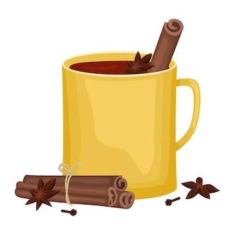 Vinho quente tinto em taça amarela com paus de canela, cravo e uma cuba. bebida alcoólica de inverno. ilustração.