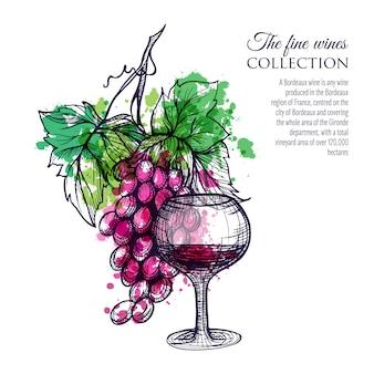 Vinho tinto com uva