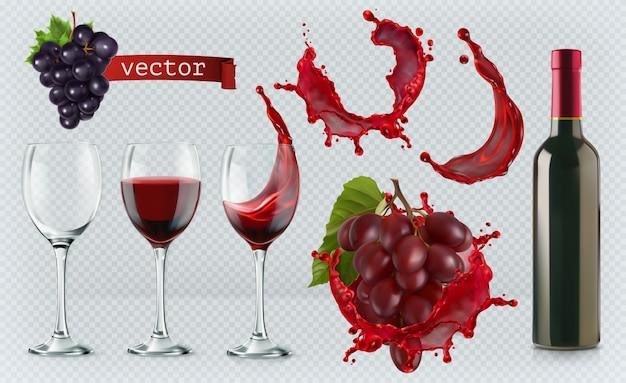 Vinho tinto. copos, garrafa, respingo, uvas. vetores realistas