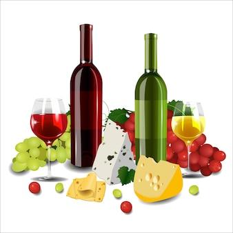 Vinho tinto e branco em garrafas e copos, diferentes tipos de queijo e uvas