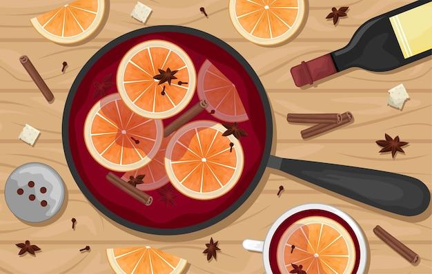 Vinho tinto quente em uma panela com rodelas de laranja, canela, cravo e um balde. canecas brancas de vinho quente. deitar. ilustração plana.