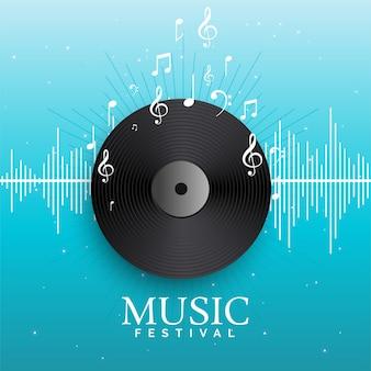 Vinil de disco de música com batidas de áudio