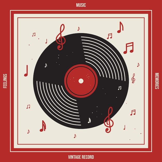 Vinil de disco de música vintage com ilustração vetorial de nota