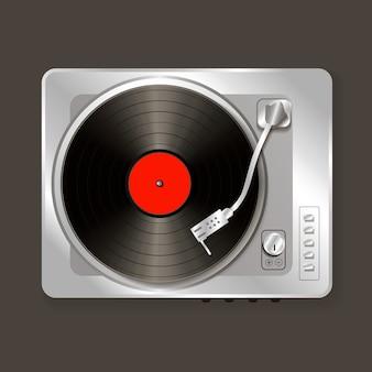 Vinil de gramofone de vetor realista música