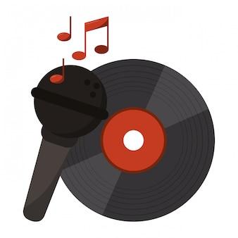 Vinil de música com microfone