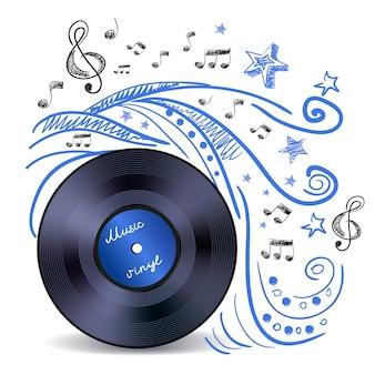 Vinil música doodle