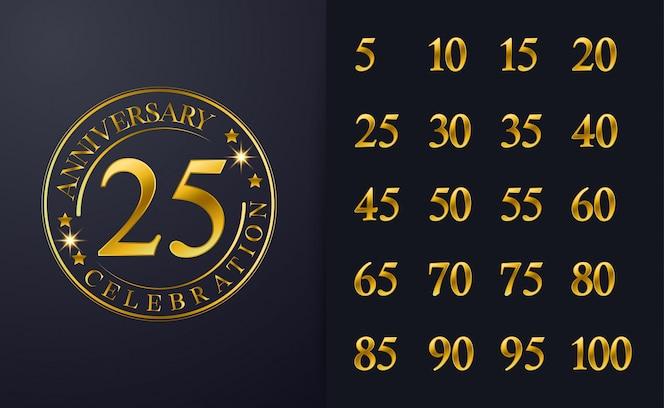 Vintage 25º aniversário inspiração design de emblema de celebração de cor de linha dourada.