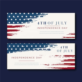 Vintage 4 de julho dia da independência banners