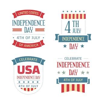 Vintage 4 de julho - emblemas do dia da independência