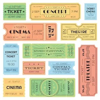 Vintage admitiu cinema, passe de festival de música, bilhete de trem.