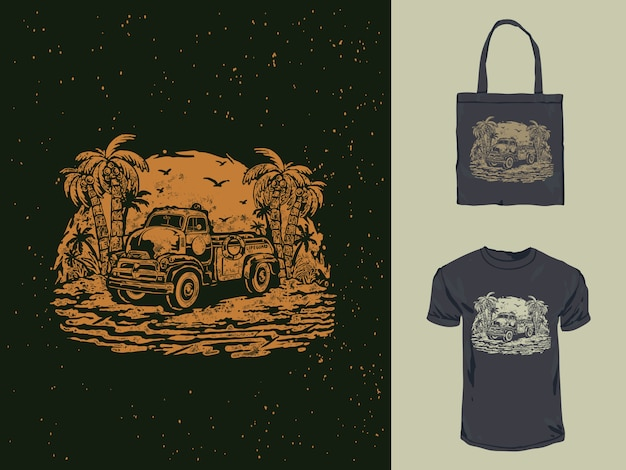 Vintage antigo salva-vidas carro t-shirt design ilustração
