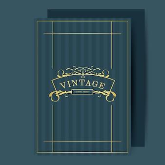 Vintage art nouveau casamento convite cartão maquete vector
