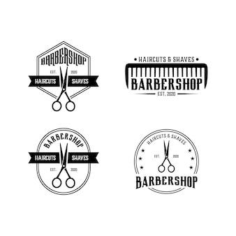 Vintage barbearia definir modelo de design de logotipo