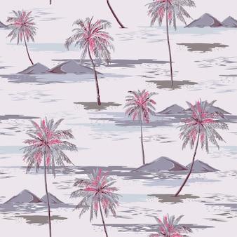 Vintage beautiful seamless island pattern paisagem com palmeiras coloridas