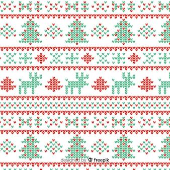 Vintage bonito padrão de natal de malha