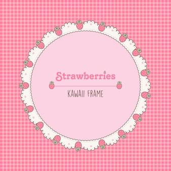 Vintage bonito pequeno quadro de morangos rosa