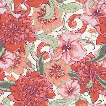 Vintage botânica padrão sem emenda com peônia florescendo