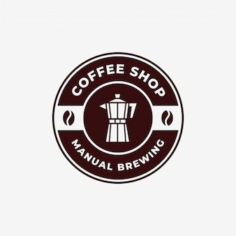 Vintage brewing coffee maker moka pot emblem logo design template