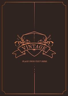 Vintage bronze art nouveau vetor de convite de casamento