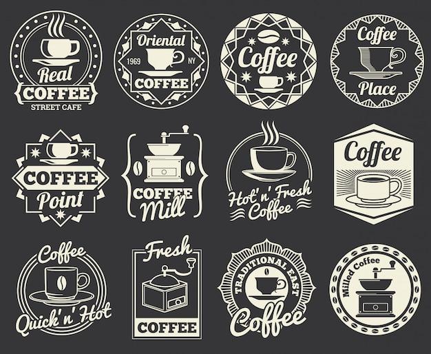 Vintage café e café logotipos, emblemas e etiquetas.
