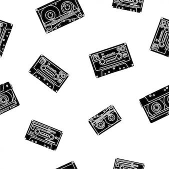 Vintage cassete fitas padrão no estilo doodle