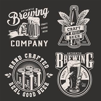 Vintage cerveja emblemas monocromáticos