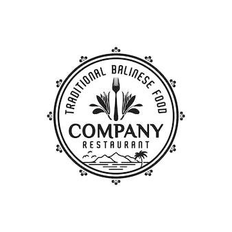 Vintage champak flower fork balinese restaurant bar logo design inspiração
