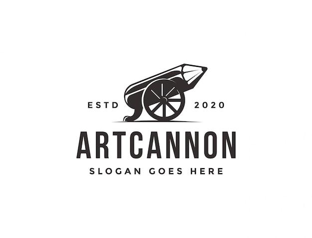 Vintage clássico velho logotipo de lápis de canhão, modelo de ícone de canhão de arte