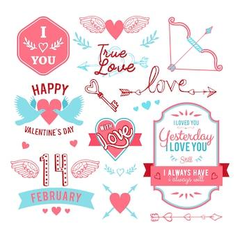 Vintage com letras de mão st. conjunto de elementos de cartão de dia dos namorados - com caligrafia artesanal