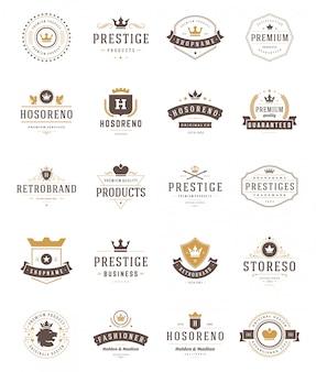 Vintage coroas de logotipos e emblemas setv ector elementos de design