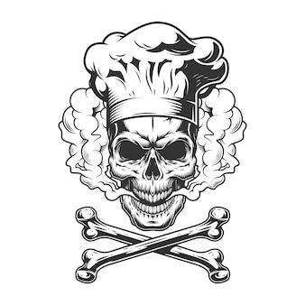 Vintage crânio monocromático usando chapéu de chef