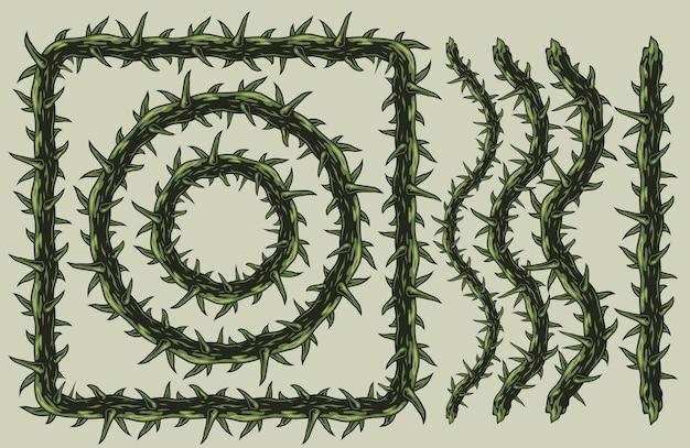 Vintage de arame farpado com pontas elegantes em cores verdes isoladas