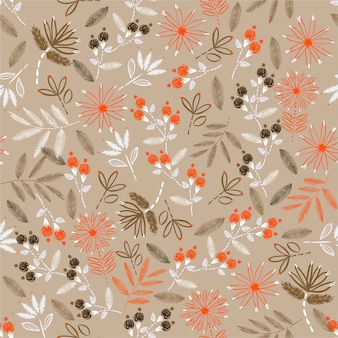Vintage de florescer de delicado bordado sem costura padrão florais no vetor mão costura humor para decoração de casa, moda, tecido, papel de parede, envolvimento e todas as impressões