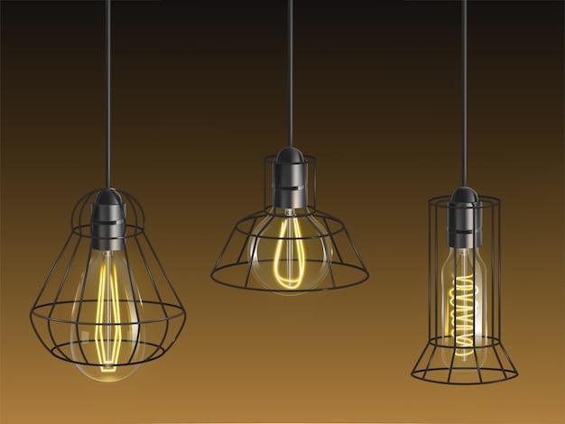 Vintage de forma diferente, lâmpadas incandescentes, lâmpadas retrô com filamento de fio aquecido