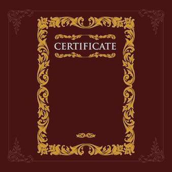 Vintage de gravura de certificado barroco