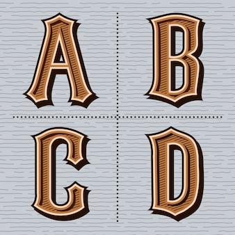 Vintage de letras ocidentais do alfabeto (a, b, c, d)