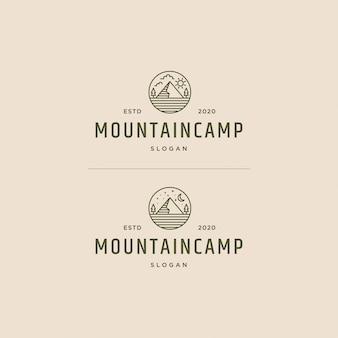 Vintage de logotipo de acampamento de montanha retrô