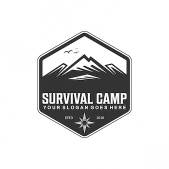 Vintage de logotipo de acampamento de sobrevivência