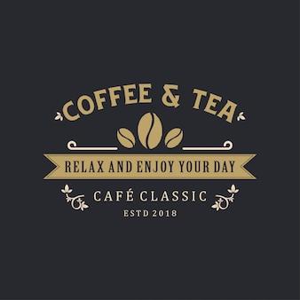 Vintage de logotipo de café e chá