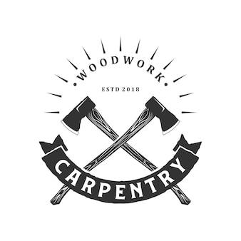 Vintage de logotipo de carpintaria