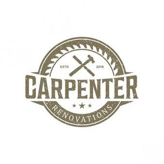 Vintage de logotipo de carpinteiro