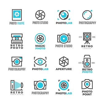 Vintage de logotipo de estúdio de fotografia para fotógrafo