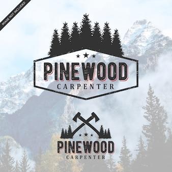 Vintage de logotipo de madeira de pinho