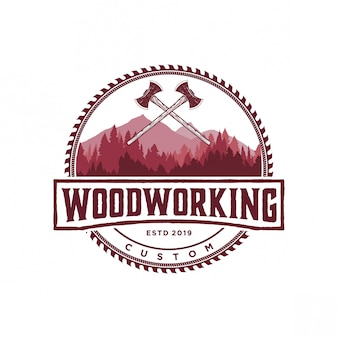 Vintage de logotipo de madeira