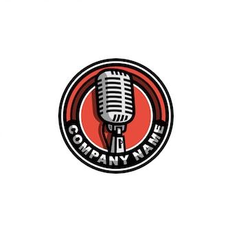 Vintage de logotipo de microfone