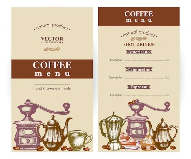 Vintage de menu de café