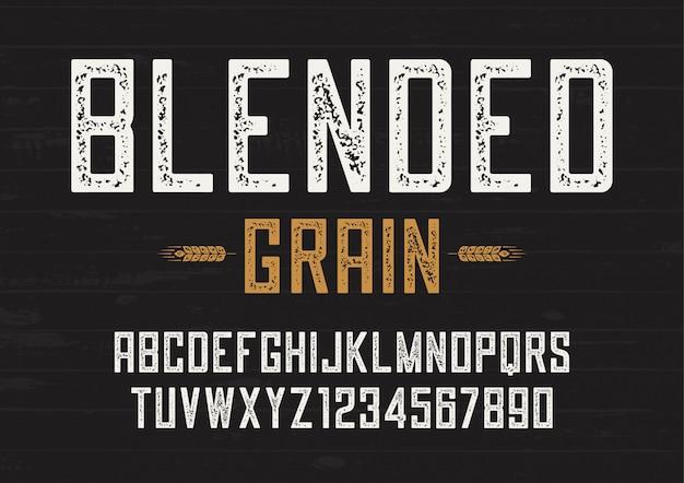 Vintage de vetor de grão misturado sans serif design de fonte, tipografia