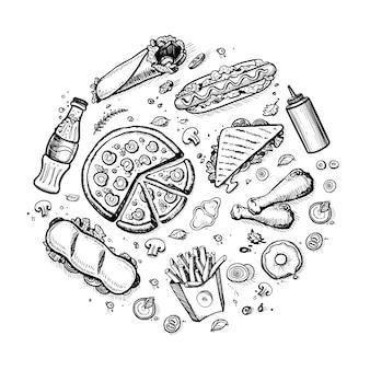 Vintage desenhado mão de fast-food