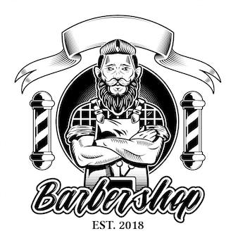 Vintage design gráfico personalizado gravura hipster homem barbeiro com bigode de barba preta e barbearia penteado elegante