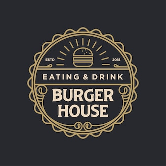 Vintage do logotipo de burger house